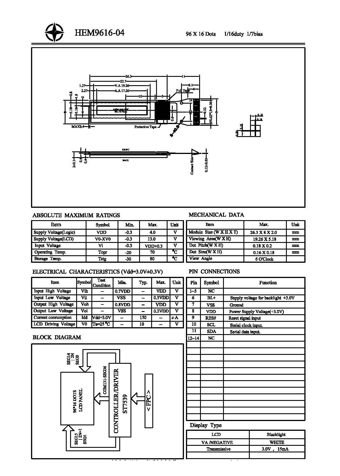 069 96x16 Dots Va Graphic Lcd Display Block Diagram Product Description